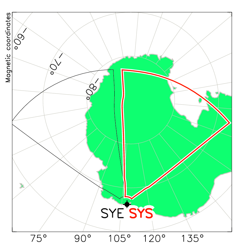 Syowa South Radar Field of View Map